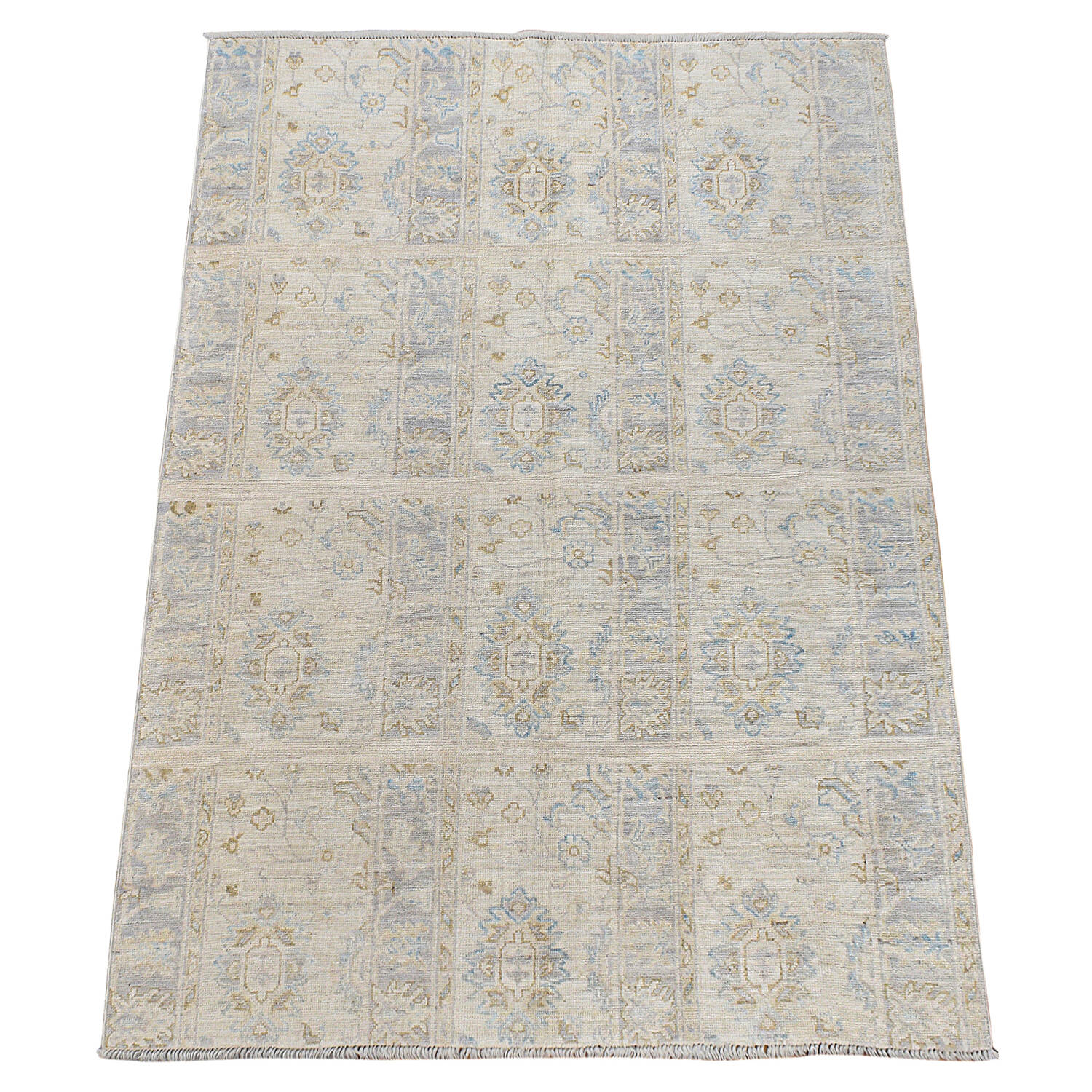 Muted Floral Oushak Turkish Area Rug 5x6 image 2
