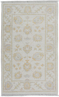 All-Over Floral Oushak Turkish Ivory Area Rug 2x3