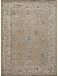 Muted Floral Oushak Turkish Area Rug 9x12