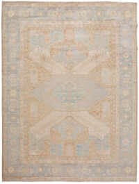 Muted Geometric Oushak Turkish Area Rug 9x12
