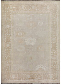 Muted Silver Gray Oushak Turkish Area Rug 9x12