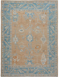 Muted Floral Oushak Turkish Area Rug 9x10