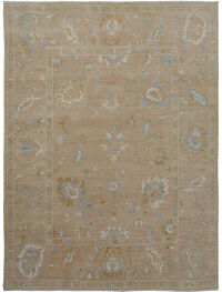 Muted Floral Oushak Turkish Area Rug 8x10
