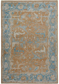 Golden Brown Oushak Turkish Area Rug 9x12