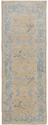 All-Over Floral Oushak Turkish Runner Rug 2x7