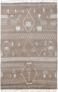 Brown Tribal Moroccan Area Rug 6x9