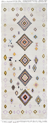 Ivory South-Western Moroccan Runner Rug 5x12