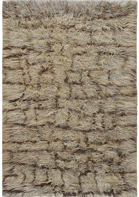 Earth-Tone Plush Shaggy Moroccan Area Rug 5x8