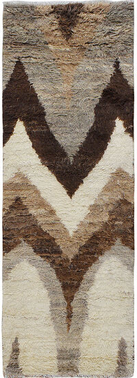 Chevron Plush Shaggy Moroccan Runner Rug 3x8