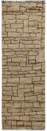 Checkered Plush Shaggy Moroccan Runner Rug 3x8