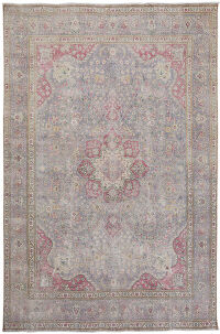 Muted Traditional Floral Tabriz Persian Distressed Area Rug 10x13