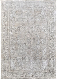 Antique Muted Geometric Tabriz Persian Distressed Area Rug 8x11