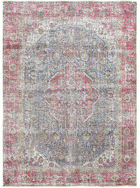 Antique Muted Geometric Tabriz Persian Distressed Area Rug 6x9