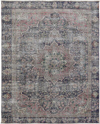 Antique Navy Blue Muted Geometric Medallion Tabriz Persian Distressed Area Rug 6x9