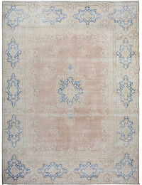 Muted Floral Kerman Persian Distressed Area Rug 10x13