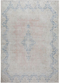 Muted Geometric Kerman Persian Distressed Area Rug 10x12