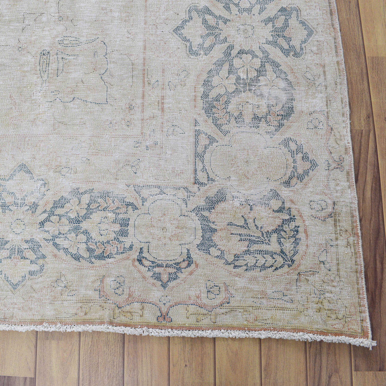 Antique Muted Floral Medallion Kerman Persian Distressed Area Rug 10x13 image 5