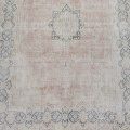 Antique Muted Floral Medallion Kerman Persian Distressed Area Rug 10x13 image 3