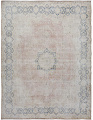 Antique Muted Floral Medallion Kerman Persian Distressed Area Rug 10x13 image 1