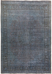 Antique Over-Dyed Kashan Persian Distressed Area Rug 10x12