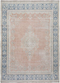 Muted Antique Distressed Kerman Persian Area Rug 8x11
