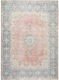 Distressed Antique Muted Kerman Persian Area Rug 10x13
