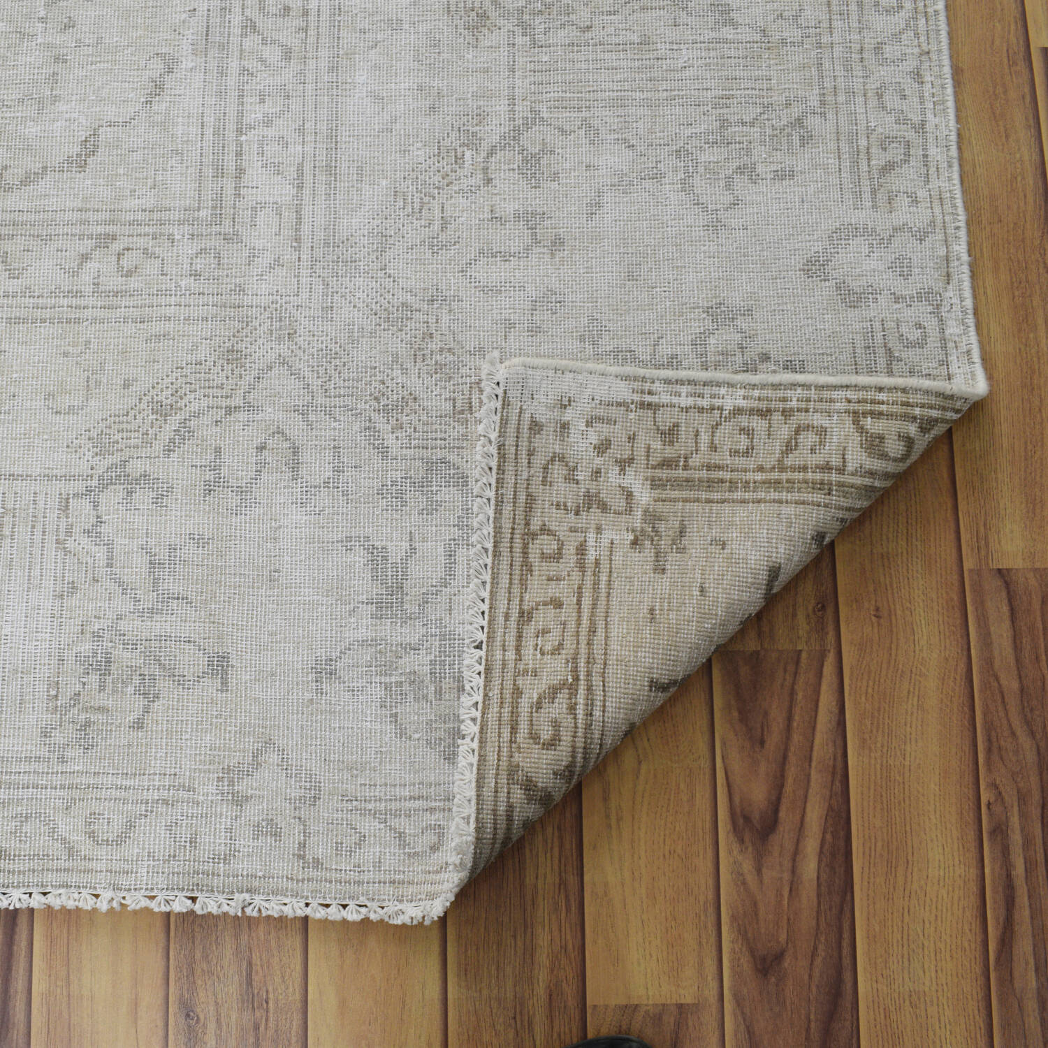 Antique Muted Kerman Distressed Persian Area Rug 9x12 image 7