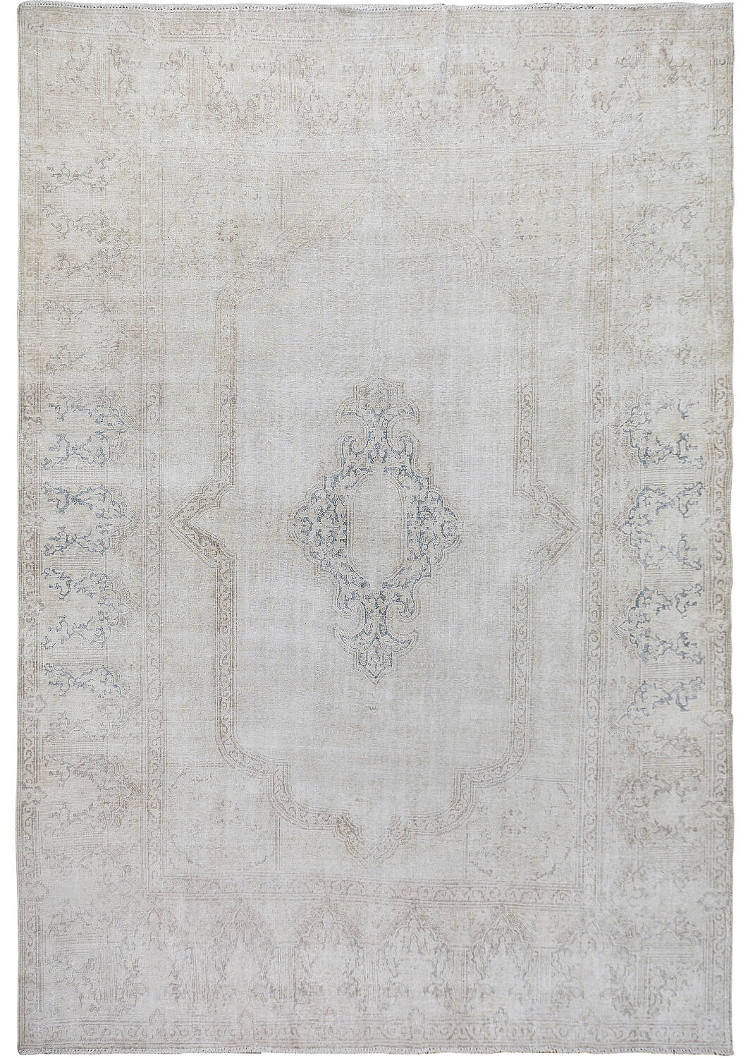 Antique Muted Kerman Distressed Persian Area Rug 9x12 image 1