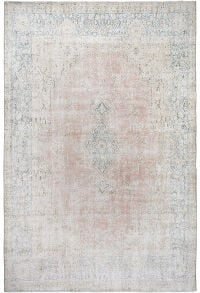 Antique Kerman Muted Distressed Persian Area Rug 10x13