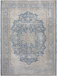 Antique Muted Floral Kerman Medallion Distressed Persian Area Rug 9x12