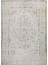 Muted Floral Medallion Tabriz Distressed Persian Area Rug 10x13