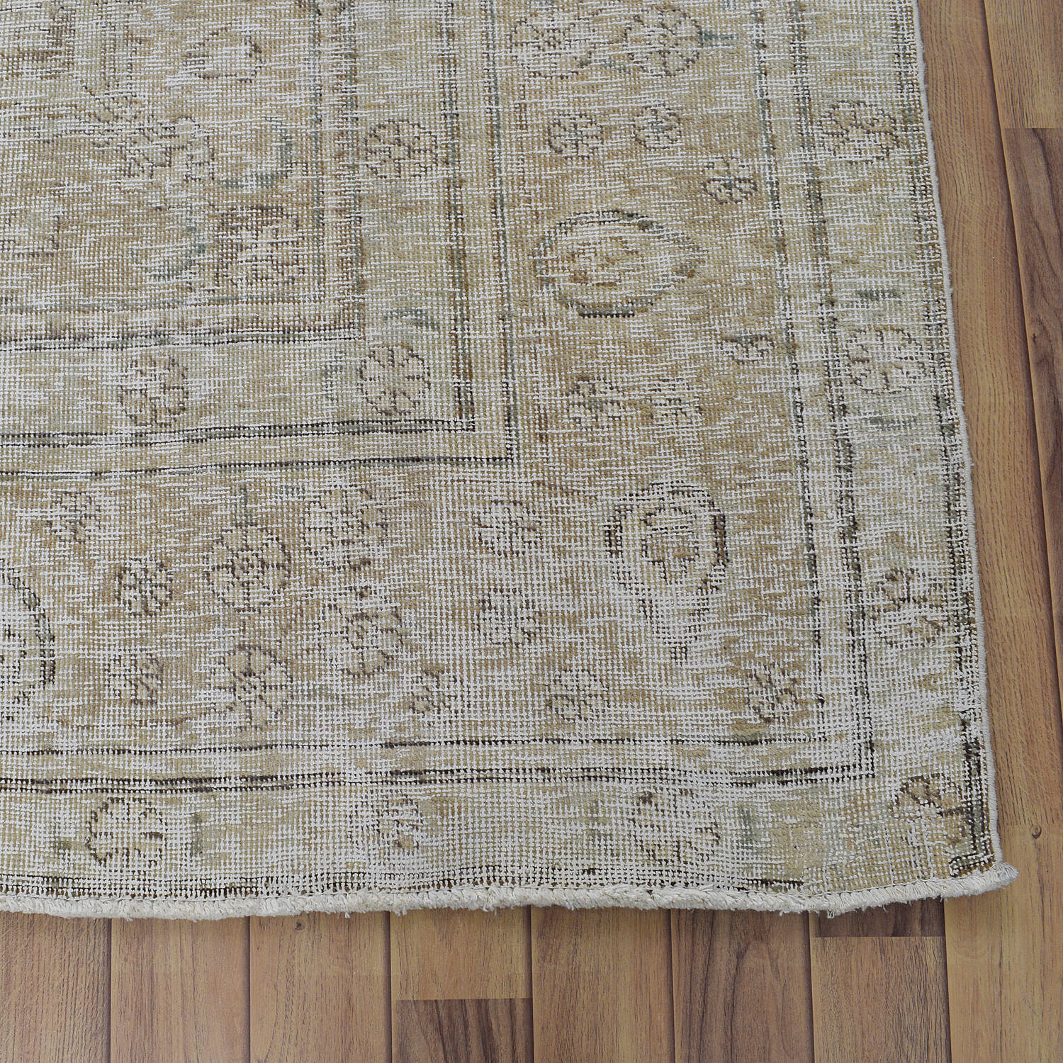 Antique Muted Floral Tabriz Distressed Persian Area Rug 8x11 image 5