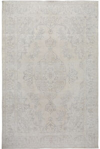 Muted Antique Floral Medallion Tabriz Distressed Persian Area Rug 8x11