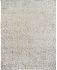 Antique Muted Floral All-Over Tabriz Distressed Persian Area Rug 9x12