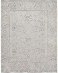 Muted All-Over Floral Tabriz Distressed Persian Area Rug 7x9