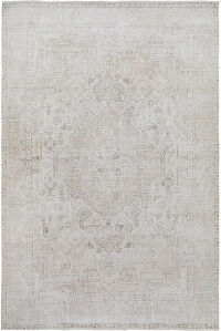 Geometric Muted Tabriz Persian Distressed Area Rug 6x9