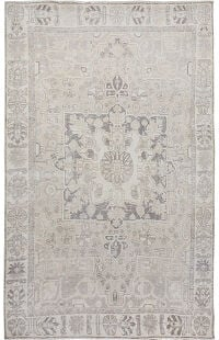Muted Geometric Tabriz Medallion Persian Distressed Area Rug 6x9