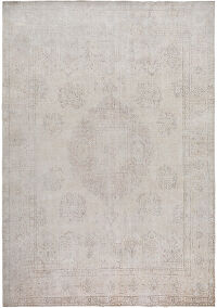 Medallion Muted Tabriz Persian Distressed Area Rug 10x13