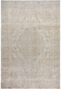 Muted Floral Tabriz Persian Distressed Area Rug 9x12