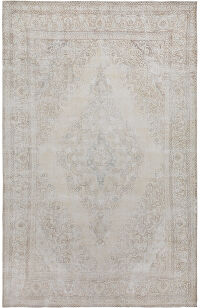 Muted Antique Medallion Floral Tabriz Persian Distressed Area Rug 9x15