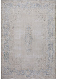 Muted Antique Floral Kerman Persian Distressed Area Rug 9x12