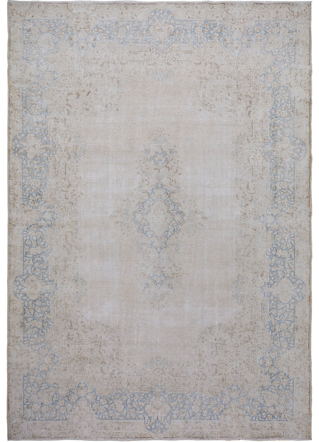 Muted Antique Floral Kerman Persian Distressed Area Rug 9x12 image 1