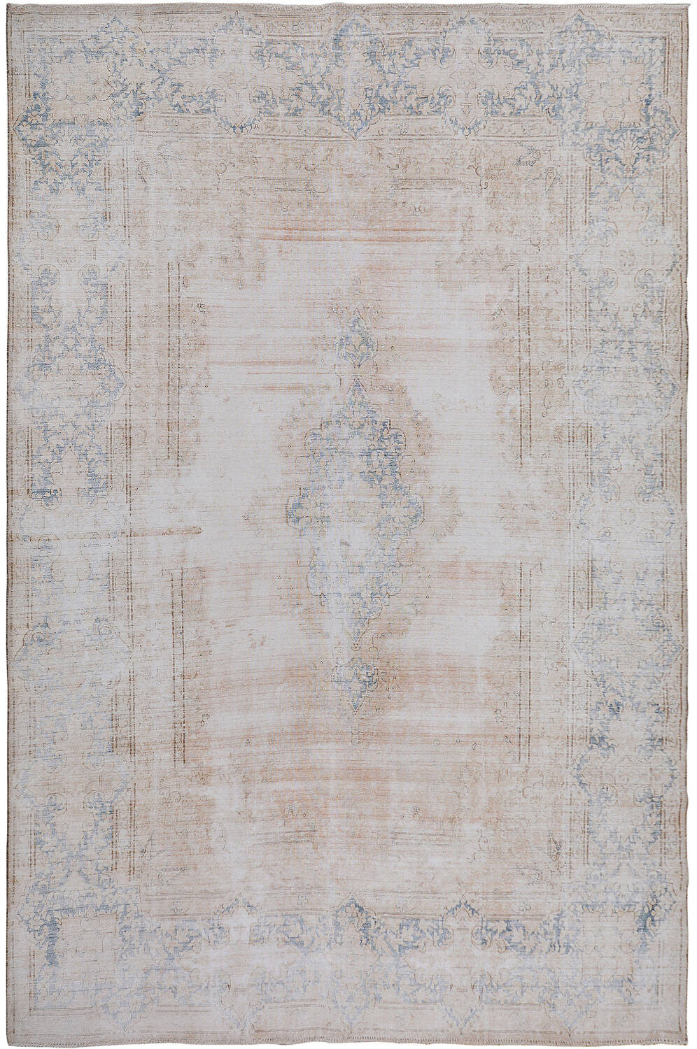 Distressed Antique Kerman Persian Muted Area Rug 10x13 image 1