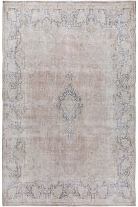 Antique Distressed Floral Kerman Persian Muted Area Rug 10x13