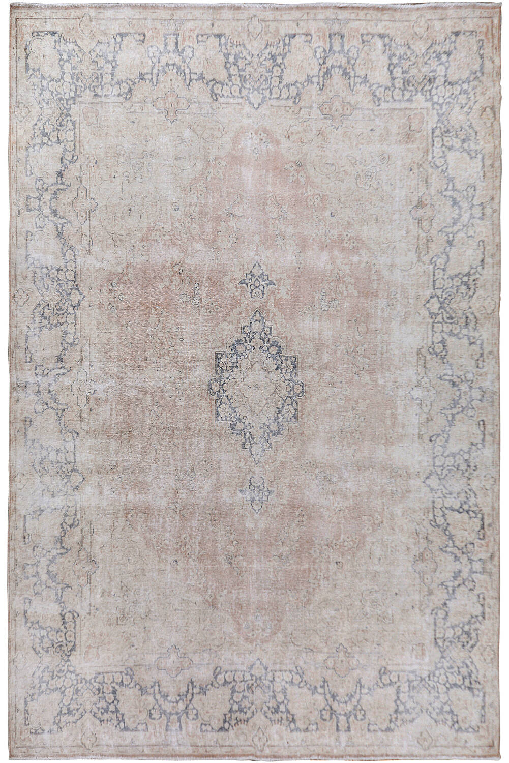 Antique Distressed Floral Kerman Persian Muted Area Rug 10x13 image 1