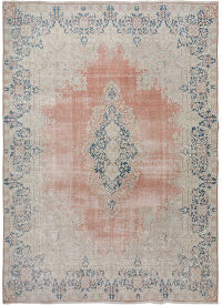 Rust Red Antique Muted Kerman Medallion Persian Distressed Area Rug 10x13