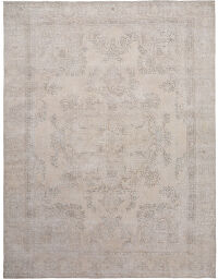 Antique Muted Floral Tabriz Persian Distressed Area Rug 9x12