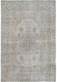Antique Floral Medallion Tabriz Persian Distressed Area Rug 7x10