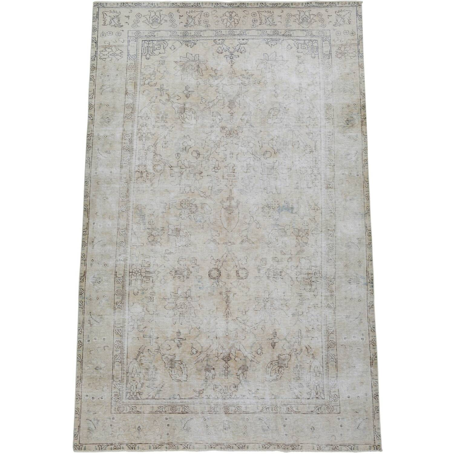 Antique Floral Tabriz Distressed  Persian Muted Area Rug 6x9 image 2