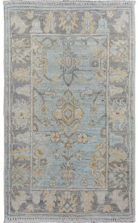 Floral Vegetable Dye Oushak Oriental Area Rug 2x3